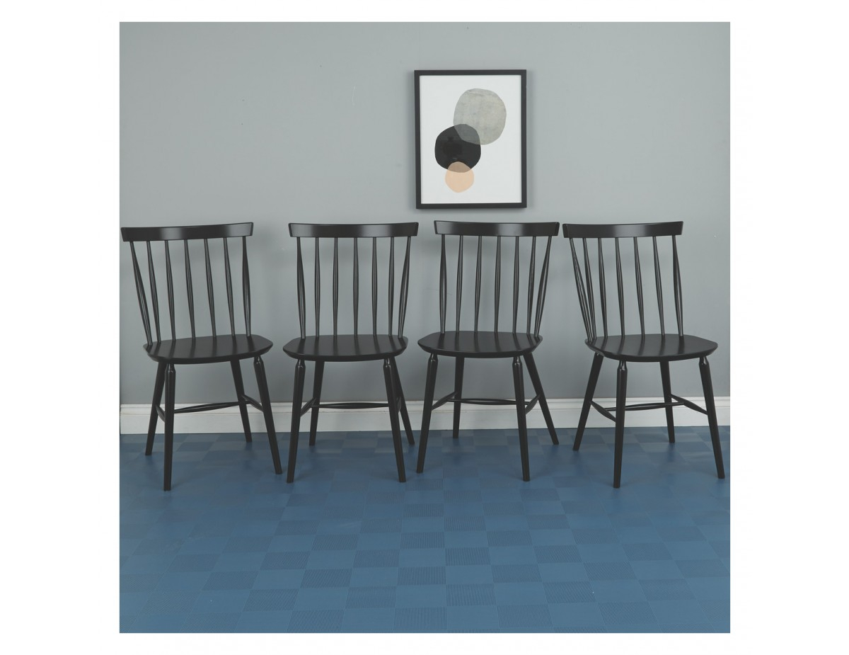 Talia Set Of 4 Black Spindle Back Dining Chairs Within Current Thalia Dining Tables (View 21 of 25)