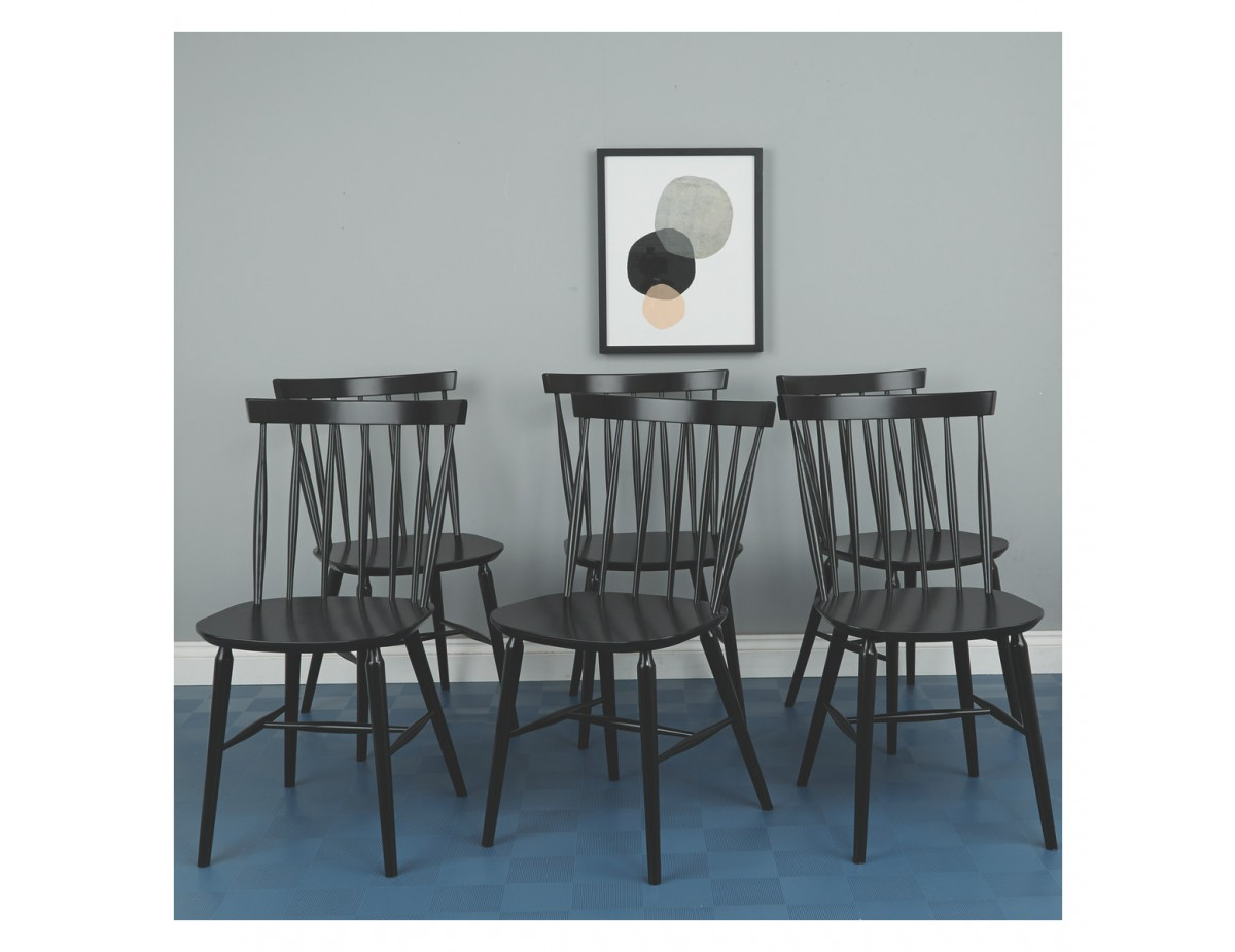Talia Set Of 6 Black Spindle Back Dining Chairs Pertaining To Most Current Thalia Dining Tables (View 19 of 25)