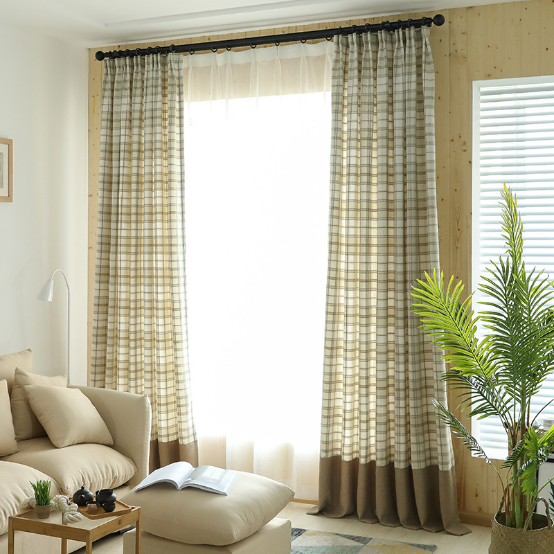 Tan Buffalo Check Tartan Beige Plaid Country Elegant Window Curtains Intended For Cotton Blend Classic Checkered Decorative Window Curtains (View 4 of 25)