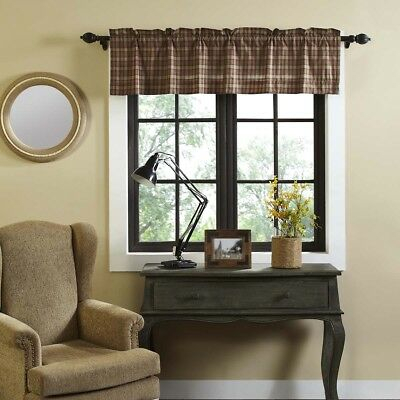 Tan Primitive Kitchen Curtains Cinnamon Plaid Valance Rod Pocket Cotton |  Ebay In Red Primitive Kitchen Curtains (Image 21 of 25)