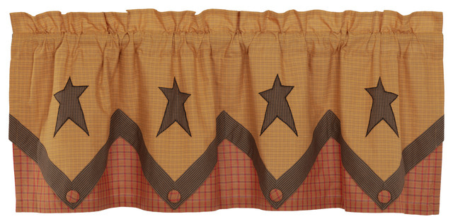 Tan Primitive Kitchen Curtains Sutton Valance Rod Pocket Cotton Star  Appliqued Pertaining To Red Primitive Kitchen Curtains (Image 22 of 25)