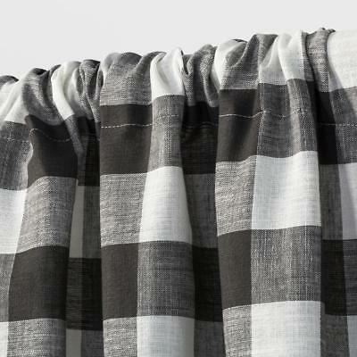 "Target Rod Pocket Cafe Tier Curtain Pair Charcoal Gray & Ivory Gingham 42"" X 36"" 