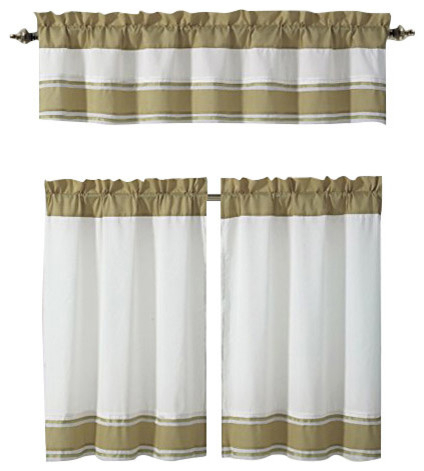 Tatianna Ivory White Brown Taupe Pintuck Striped Kitchen Curtain Set, 3 Piece In Pintuck Kitchen Window Tiers (View 6 of 25)