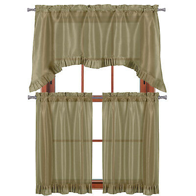 """Taupe 3 Pc Window Curtain Set: Pleated Ruffle, 1 Swag Valance, 2 36""""l Tiers 841643114958   Ebay With Regard To Pleated Curtain Tiers (View 2 of 25)"""
