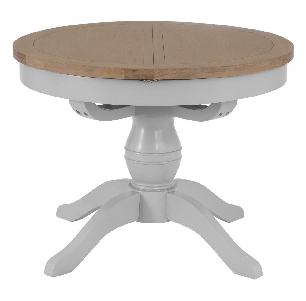 Tennyson Grey Round Butterfly Extending Table Within Current Gray Wash Banks Pedestal Extending Dining Tables (View 15 of 25)