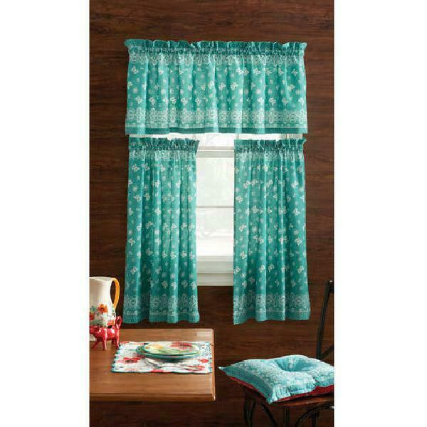 The Pioneer Woman Bandana 3Pc Kitchen Curtain And Valance Set, Teal | Ebay With Dakota Window Curtain Tier Pair And Valance Sets (View 18 of 25)