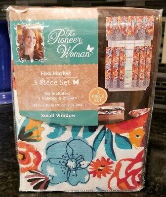 The Pioneer Woman Flea Market 3 Piece Kitchen Curtain Tier And Valance Set New | Ebay Regarding Lodge Plaid 3 Piece Kitchen Curtain Tier And Valance Sets (View 6 of 25)