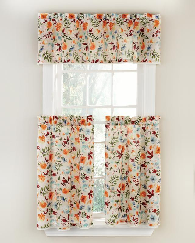 The Pioneer Woman Willow 3 Piece Kitchen Curtain Tier And Valance Set – Walmart Pertaining To Country Style Curtain Parts With White Daisy Lace Accent (View 17 of 25)