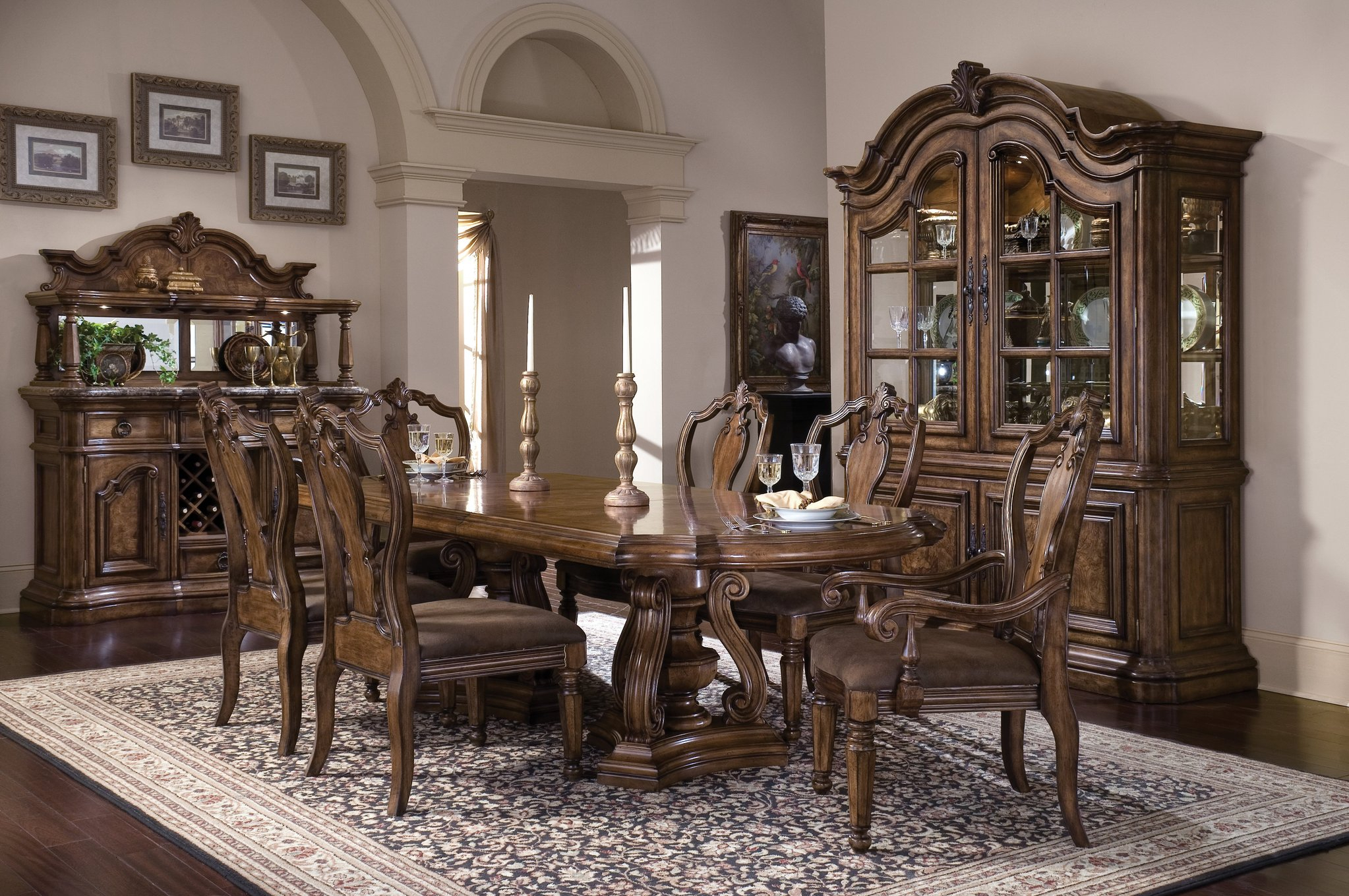 The San Mateo Elegant Double Pedestal Dining Room Collection Inside Current Mateo Extending Dining Tables (View 10 of 25)