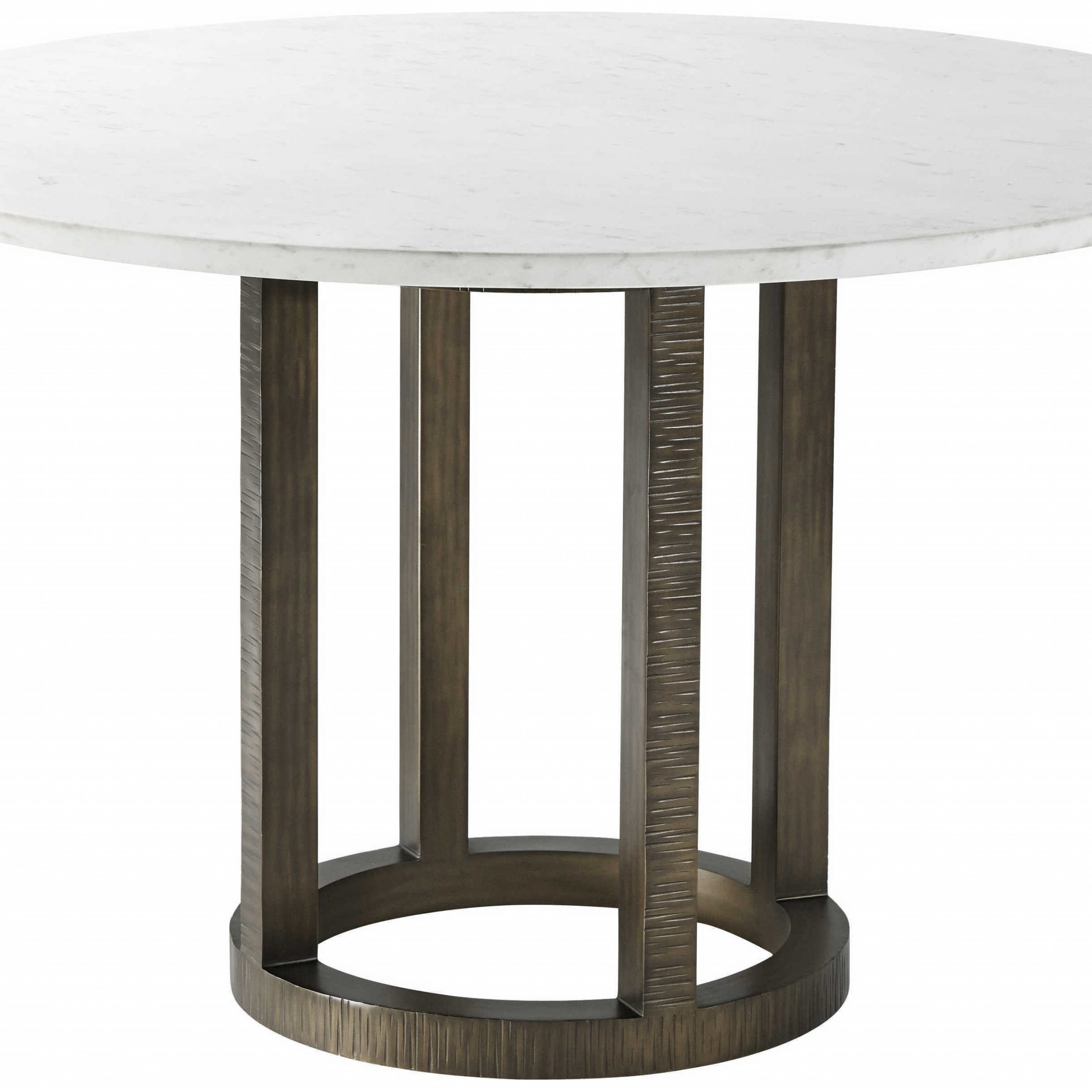 Theodore Alexander Marble / Steel 48'' Wide Round Dining Table With Most Popular Alexandra Round Marble Pedestal Dining Tables (View 14 of 25)