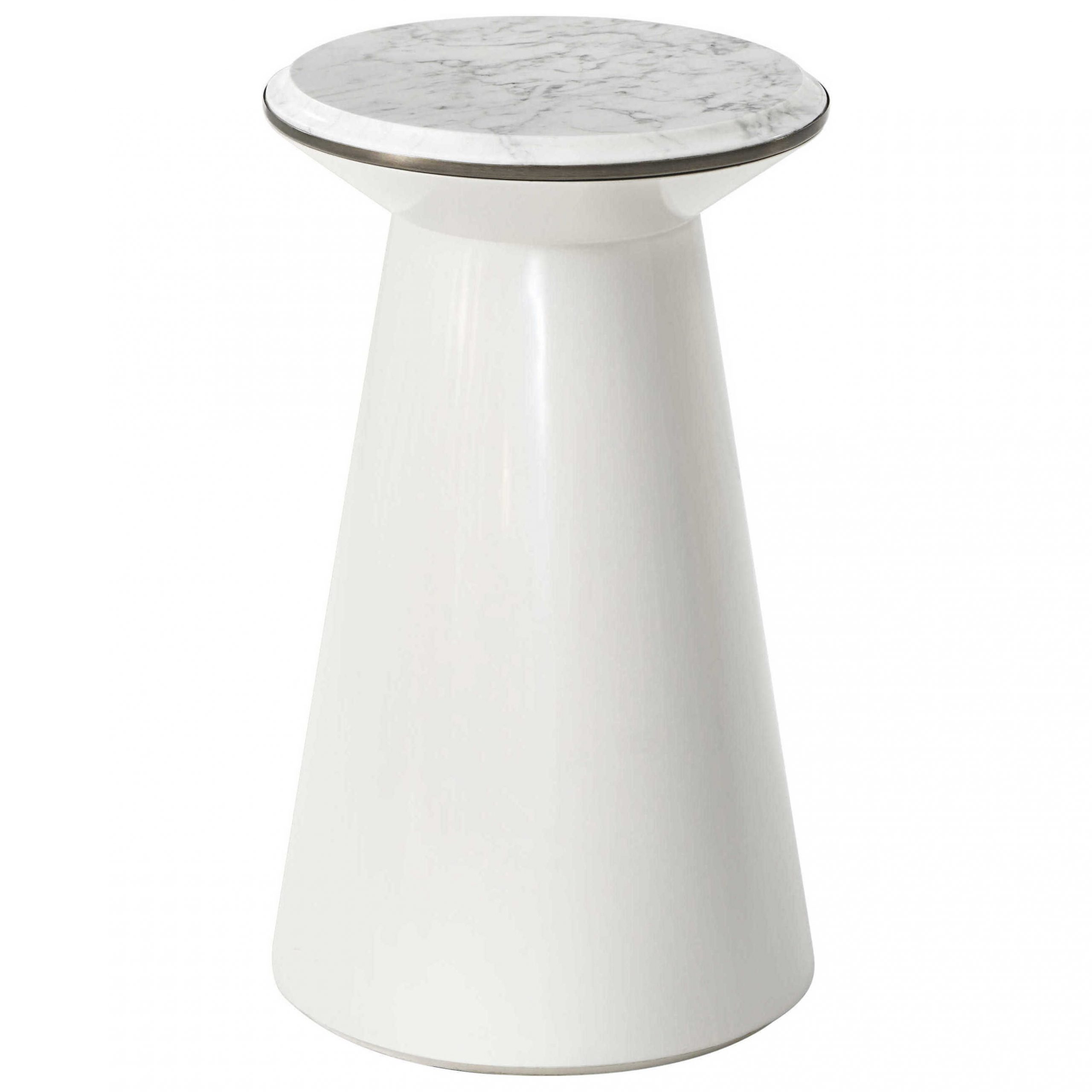 Theodore Alexander Pure Pearl Marble / Heritage Bronze Rare Champagne 13'' Wide Round Pedestal Table For Most Current Alexandra Round Marble Pedestal Dining Tables (View 23 of 25)