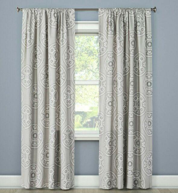 Threshold Tile Medallion Curtain Window Panel ~ 54×95 ~ Gray/grey White With Regard To Medallion Window Curtain Valances (View 11 of 25)