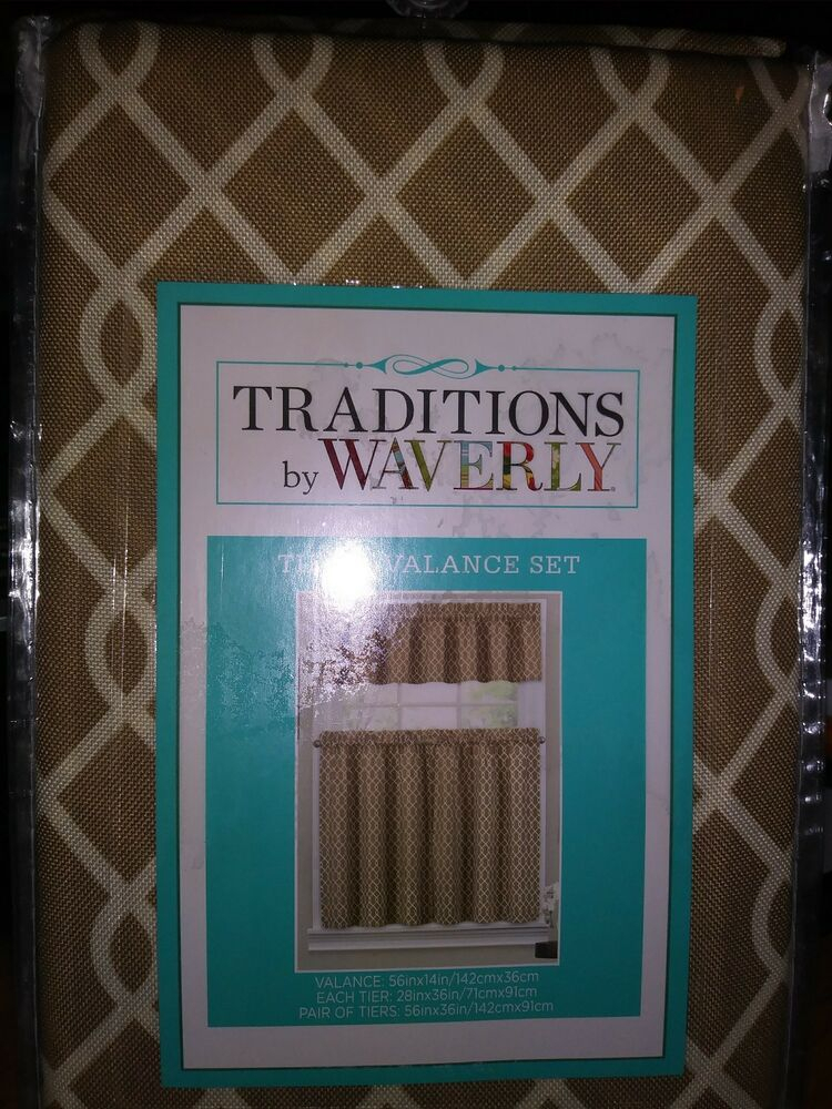 """Tier And Valance Set  Traditionswaverly – Ellis Natural Tan 56"""" X 36""""    Ebay Throughout Hopscotch 24 Inch Tier Pairs In Neutral (Image 25 of 25)"""