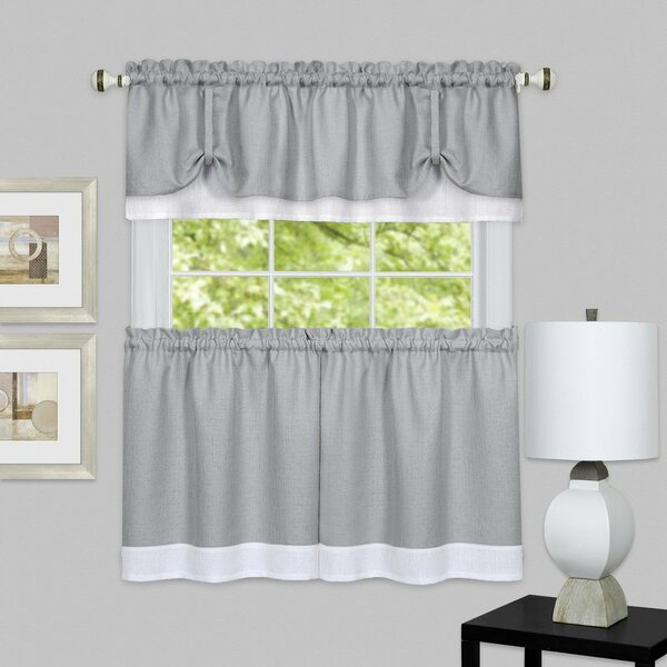 Tier And Valance Sets | Wayfair For Embroidered Chef Black 5 Piece Kitchen Curtain Sets (View 19 of 25)