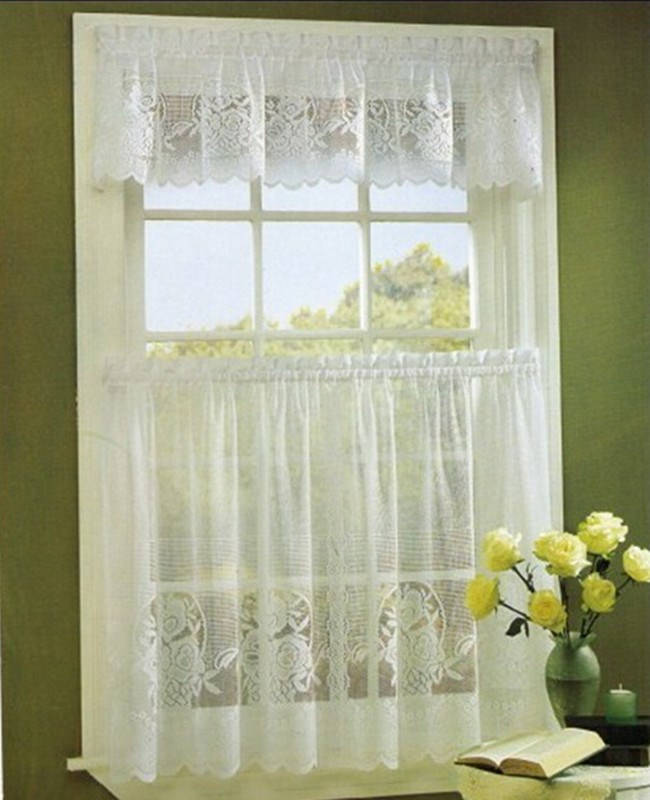 Tier Kitchen Curtain Swag Valance,flower Lace Curtain 3Pcs Kitchen Curtain Tiers And Valance – Buy Lace Curtain,tiers And Valace,lace Kitchen Curtain Intended For Kitchen Curtain Tiers (View 11 of 25)