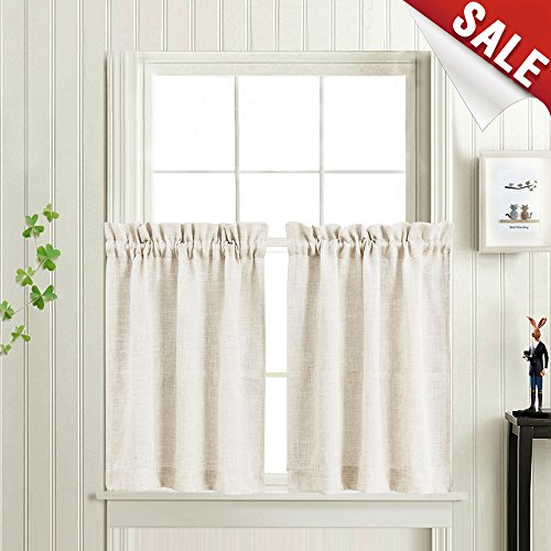 Tier Kitchen Curtains Linen Look Short Curtains For Bathroom Rod Pocket Flax Rustic Crude Window Treatments 36 In Length 2 Panels In Rod Pocket Kitchen Tiers (View 24 of 25)