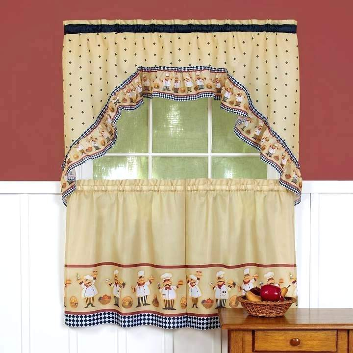 Tier Window Curtains – Tomasloewy For Traditional Two Piece Tailored Tier And Swag Window Curtains Sets With Ornate Rooster Print (View 4 of 25)