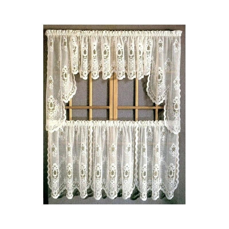 Tiered Valances Sterling Lace Kitchen Curtains With Tier Inside Floral Embroidered Sheer Kitchen Curtain Tiers, Swags And Valances (View 2 of 25)