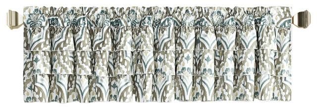 """Tivoli Ikat Valance Set, Blue/gray, 52""""x20"""" Inside Solid Microfiber 3 Piece Kitchen Curtain Valance And Tiers Sets (View 24 of 25)"""