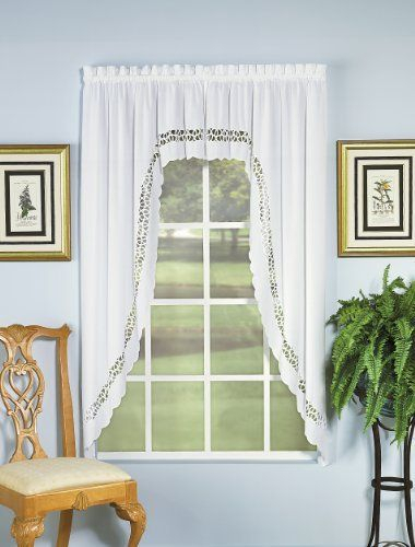 Today's Curtain Hellina Tapework Window Swagger, 63 Inch Throughout Spring Daisy Tiered Curtain 3 Piece Sets (Image 24 of 25)