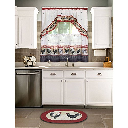 Top 20 Cabin Curtains – Top Decor Tips For Traditional Two Piece Tailored Tier And Swag Window Curtains Sets With Ornate Rooster Print (View 7 of 25)
