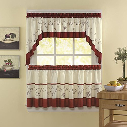 Top 20 Cabin Curtains – Top Decor Tips In Traditional Tailored Tier And Swag Window Curtains Sets With Ornate Flower Garden Print (View 5 of 25)