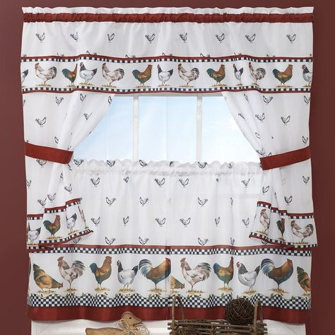 Top Of The Morning Rooster 5 Piece Cottage Tier Swag Kitchen Pertaining To Traditional Two Piece Tailored Tier And Swag Window Curtains Sets With Ornate Rooster Print (View 3 of 25)