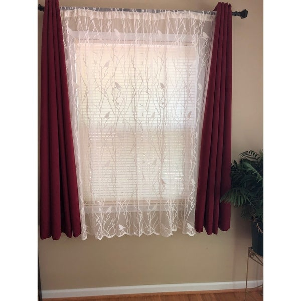 Top Product Reviews For White/ivory 56 Inch X 63 Inch Knit In Ivory Knit Lace Bird Motif Window Curtain (Image 20 of 25)