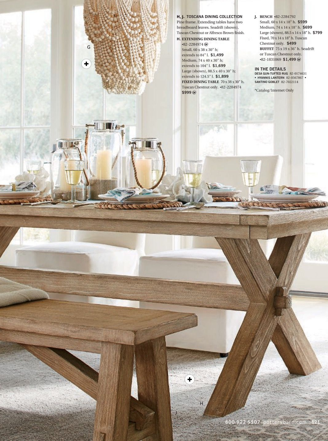 Toscano Dining Table And Bench In Seadrift, Amelia Wood Bead Regarding Newest Seadrift Toscana Extending Dining Tables (View 4 of 25)