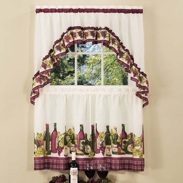 Traditional Two Piece Tailored Tier And Swag Window Curtains Set With Classic French Wine And Grapes Print – 36 Inch With Traditional Two Piece Tailored Tier And Valance Window Curtains (View 5 of 25)