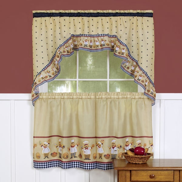 Traditional Two Piece Tailored Tier And Swag Window Curtains Set With Happy  Chef Print Pertaining To White Tone On Tone Raised Microcheck Semisheer Window Curtain Pieces (Image 23 of 25)