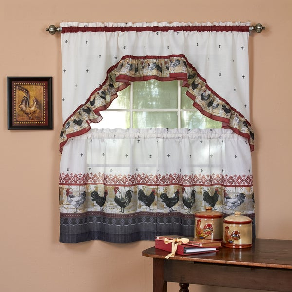 Traditional Two Piece Tailored Tier And Swag Window Curtains Set With Ornate Rooster Print – 36 Inch Regarding Traditional Two Piece Tailored Tier And Valance Window Curtains (View 3 of 25)