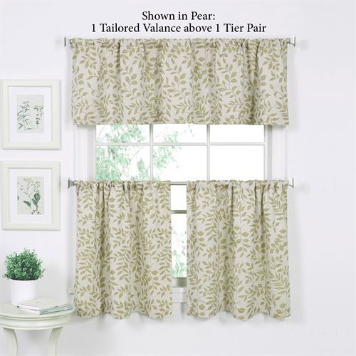 Tranquil Leaf Design Tier Window Treatment Inside Tranquility Curtain Tier Pairs (View 4 of 25)