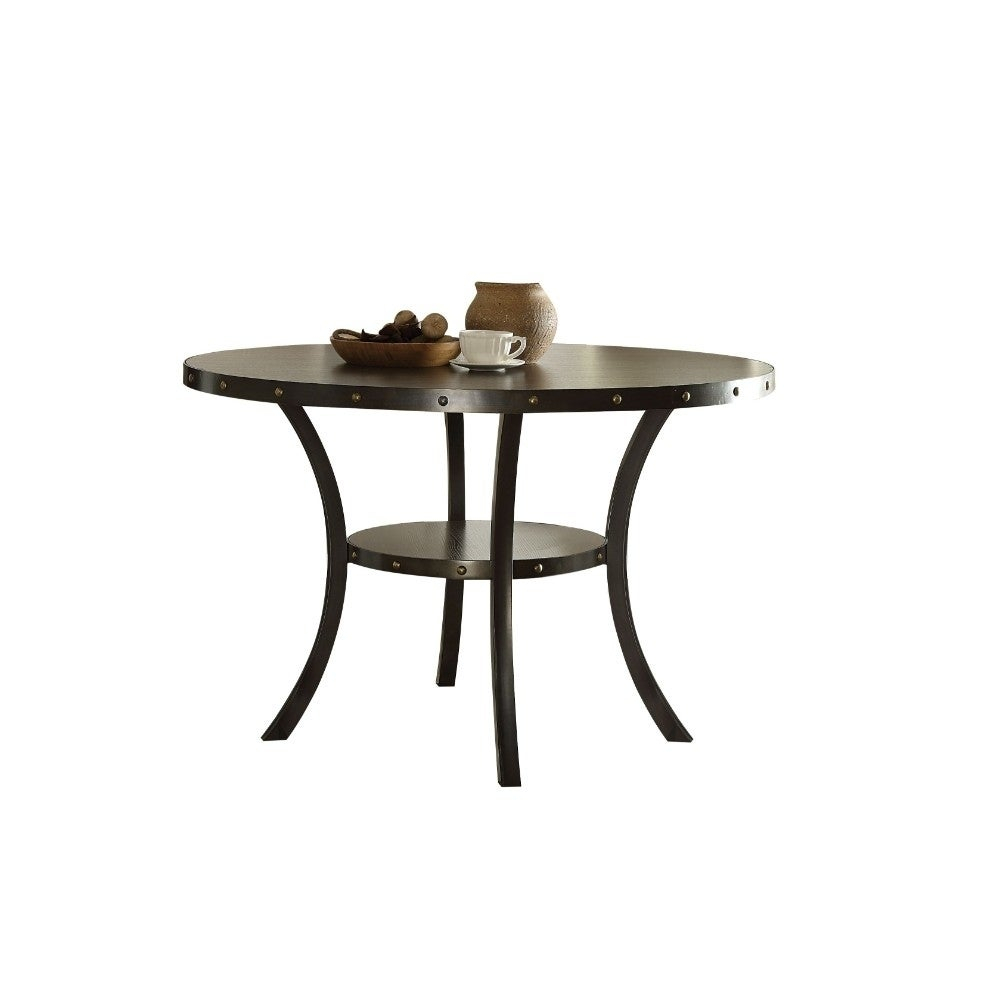 Transitional Round Wooden And Metal Dining Table With Mid Round Shelf, Brown Throughout Newest Hearst Oak Wood Dining Tables (Image 23 of 25)