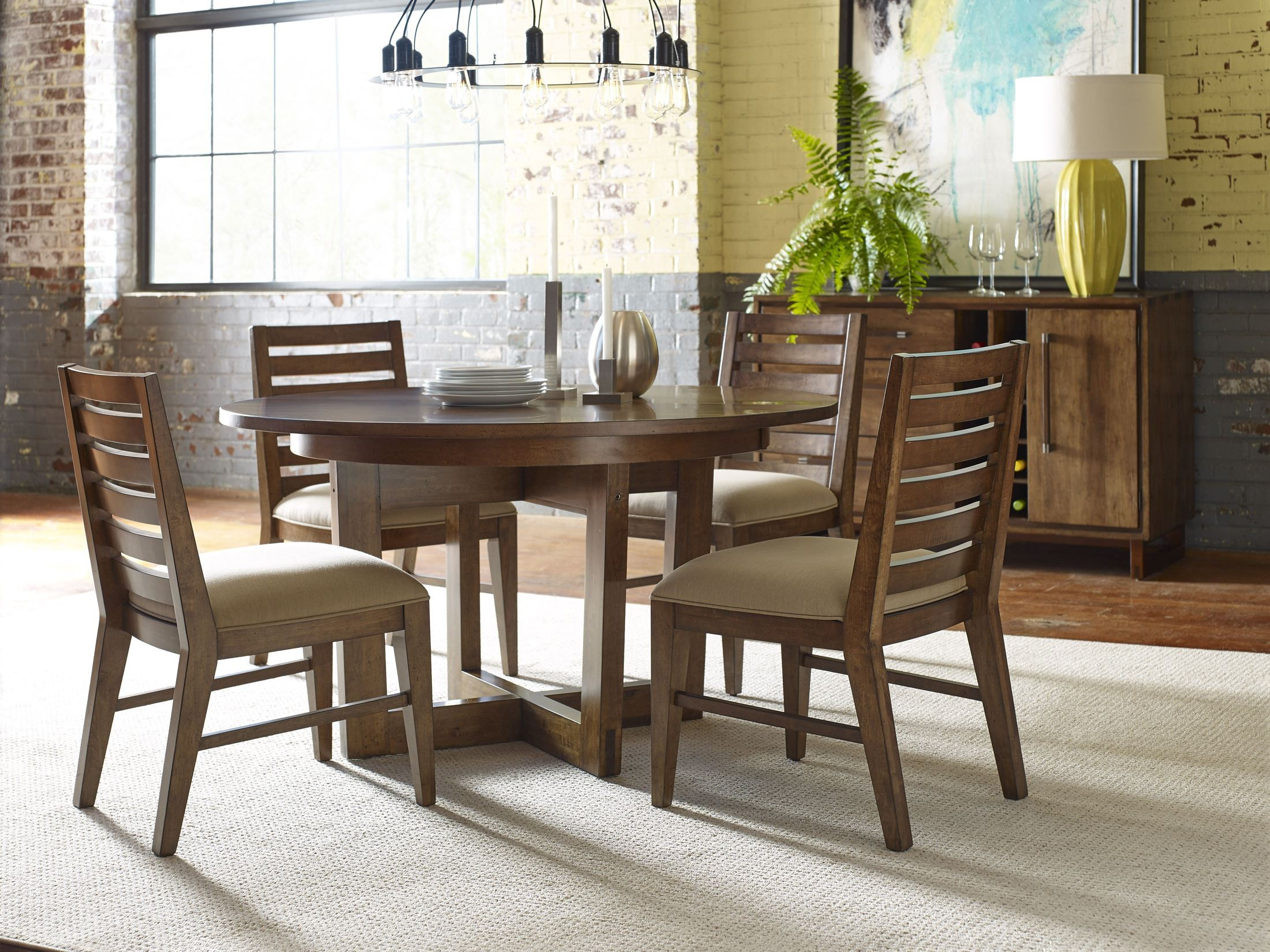 "Traverse Brown 54"" Drop Leaf Round Dining Table Within Recent Montalvo Round Dining Tables (View 13 of 25)"