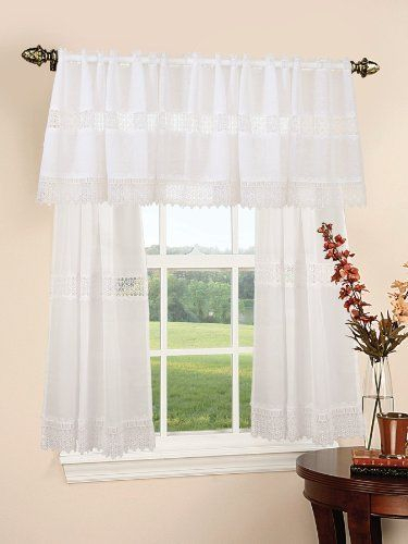 Treasure Lace Design Sheer Three Piece Kitchen Curtain Set Inside Scroll Leaf 3 Piece Curtain Tier And Valance Sets (View 15 of 25)
