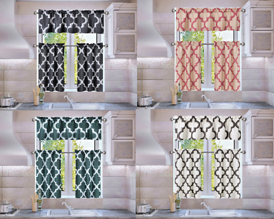 Trellis Geometric Panel Blackout Lined Window Kitchen 3Pc Curtain Set Moza | Ebay Within Geometric Print Microfiber 3 Piece Kitchen Curtain Valance And Tiers Sets (View 24 of 25)