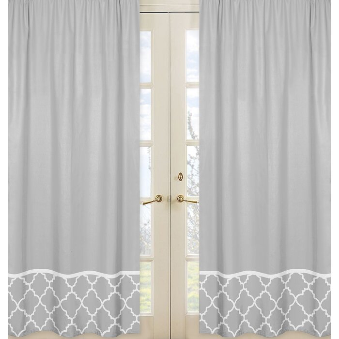 Trellis Geometric Semi Sheer Rod Pocket Curtain Panels Inside White Micro Striped Semi Sheer Window Curtain Pieces (Image 22 of 25)