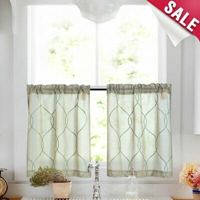 Trellis Pattern Embroidered Kitchen Tier Curtains And Valance Sets For Bathroom | Ebay Pertaining To Kitchen Window Tier Sets (View 13 of 25)