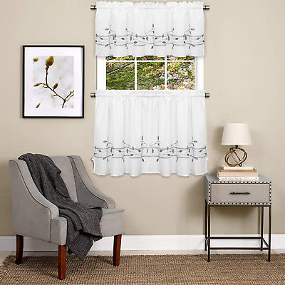 Trellis Scrolling Leaf Pattern Kitchen Window Curtain Tiers Or Valance Gray | Ebay Intended For Navy Vertical Ruffled Waterfall Valance And Curtain Tiers (View 7 of 25)