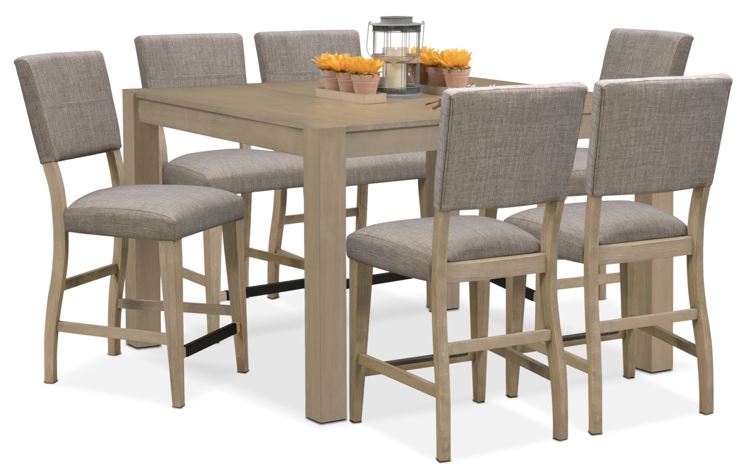 Tribeca Counter Height Dining Table And 6 Upholstered Dining Chairs Intended For Current Carson Counter Height Tables (View 23 of 25)