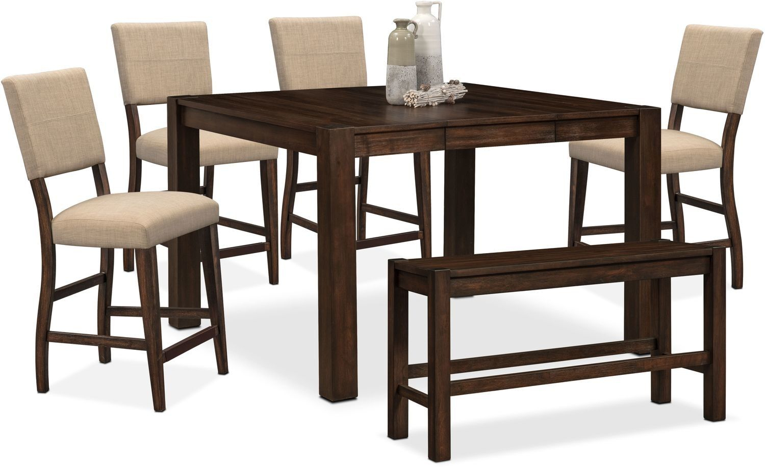 Tribeca Counter Height Table, 4 Upholstered Side Chairs And Pertaining To Latest Avondale Counter Height Dining Tables (View 11 of 25)