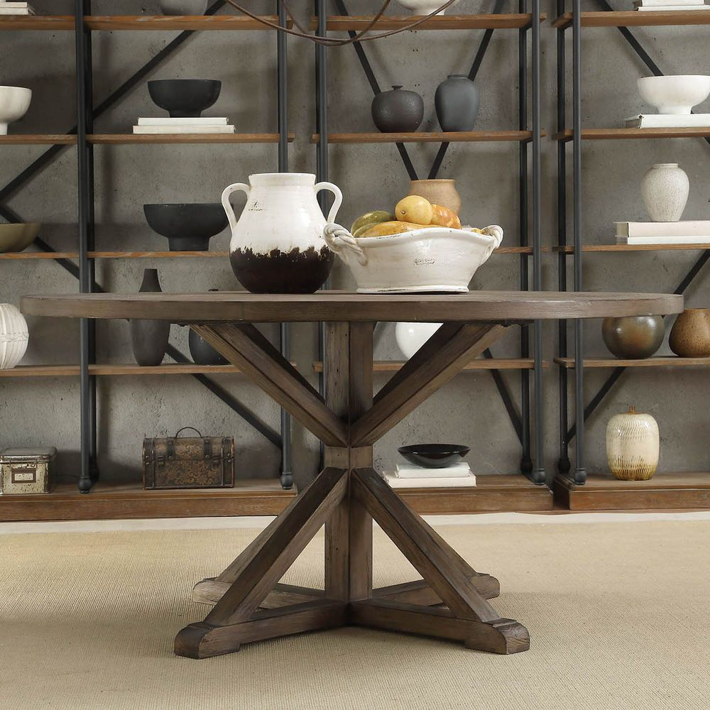 Tribecca Home Benchwright Rustic X Base 60 Inch Round Pine With Regard To Latest Benchwright Round Pedestal Dining Tables (View 12 of 25)