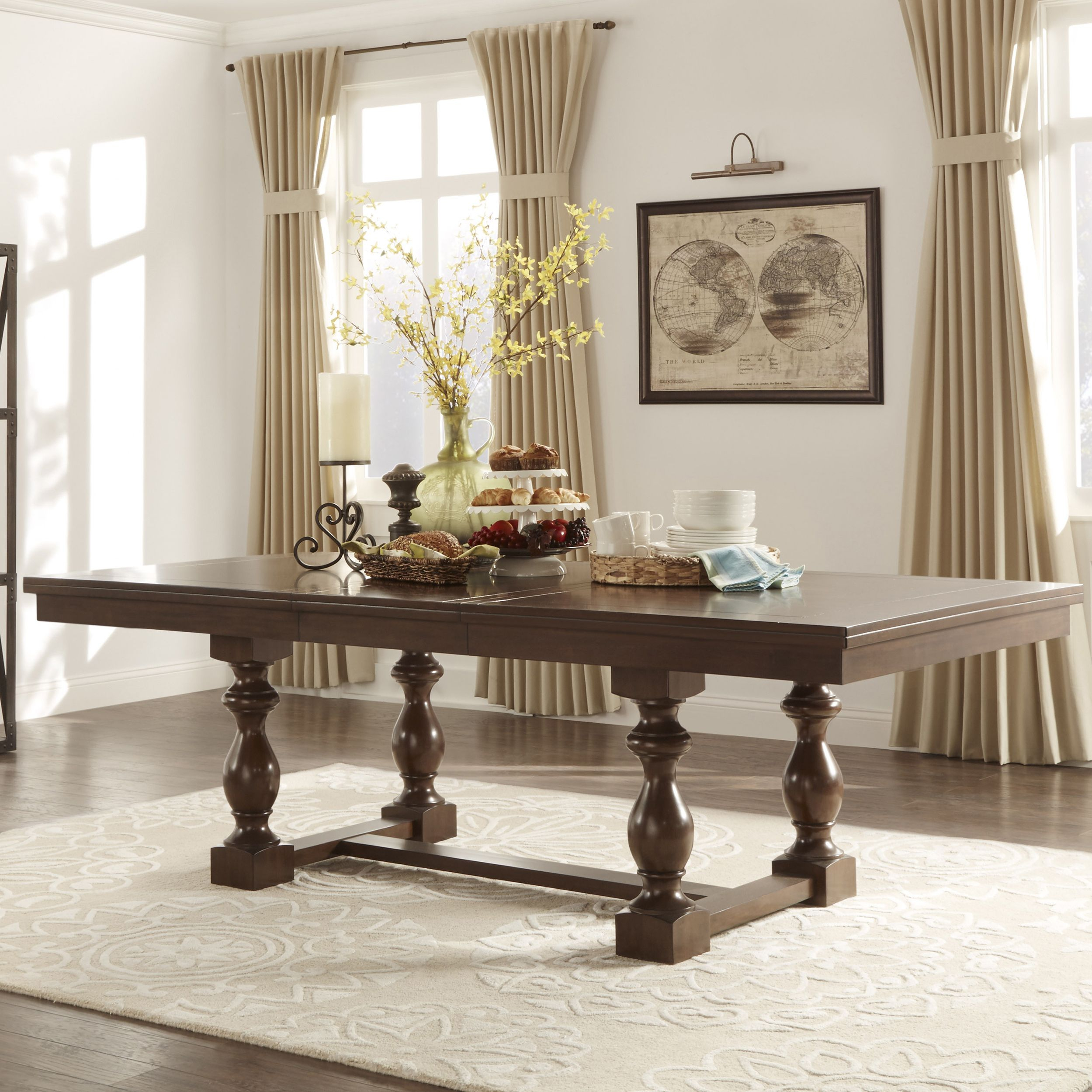 Tribecca Home Flatiron Baluster Extending Dining Table With Regard To Most Up To Date Hewn Oak Lorraine Pedestal Extending Dining Tables (View 11 of 25)