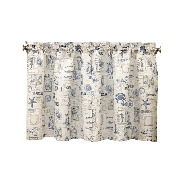 Troskythe Sea Printed Ocean Beach Kitchen Tier Curtain Intended For Tranquility Curtain Tier Pairs (View 21 of 25)