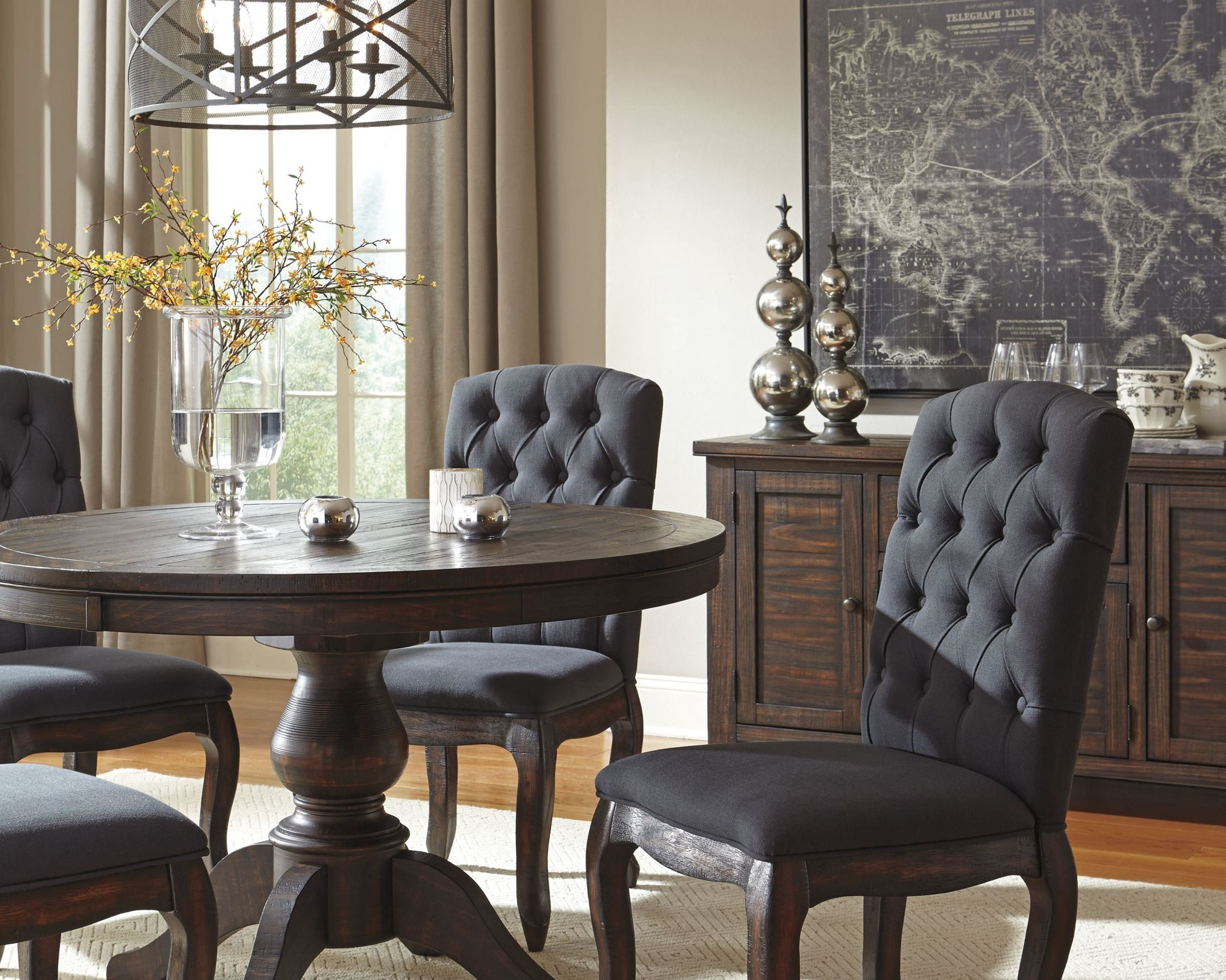 Trudell Dark Brown Round Extendable Pedestal Dining Table Inside Recent Black Olive Hart Reclaimed Pedestal Extending Dining Tables (View 9 of 25)