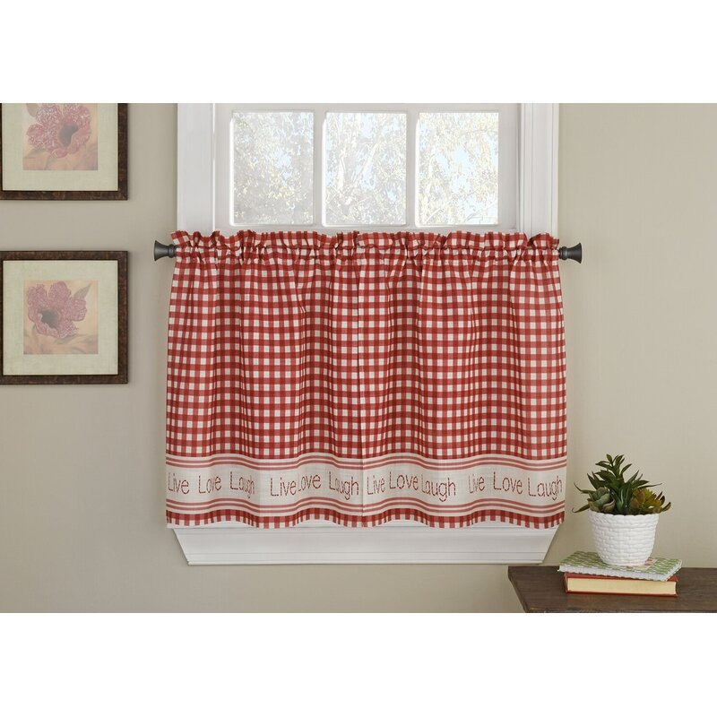 Turley Live Laugh Love Checkered Tier Pair Cafe Curtain In Live, Love, Laugh Window Curtain Tier Pair And Valance Sets (View 14 of 25)