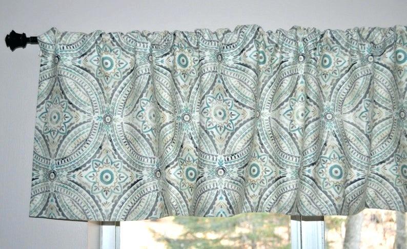 Turquoise Valance Curtains – Bluefinz Regarding Medallion Window Curtain Valances (View 19 of 25)