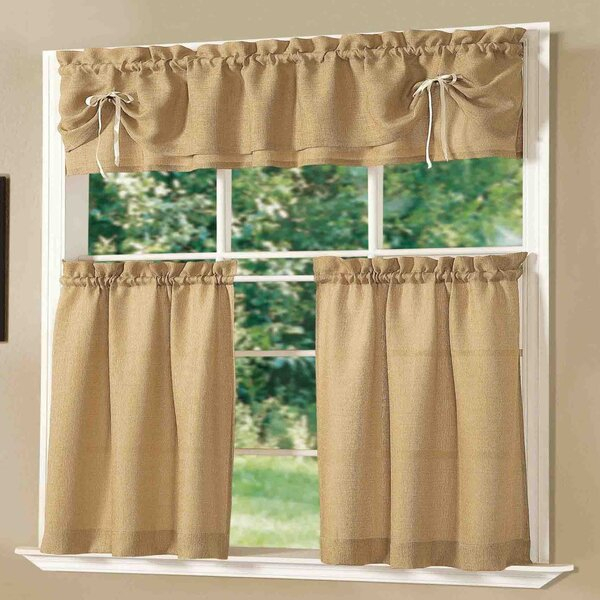 Tuscan Kitchen Valance | Wayfair Regarding Floral Watercolor Semi Sheer Rod Pocket Kitchen Curtain Valance And Tiers Sets (View 5 of 25)