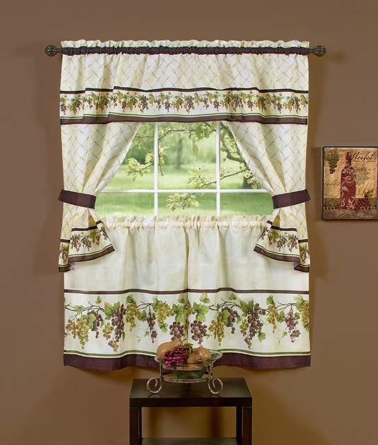"Tuscany Cottage Set – 57""x36"" Tier Pair/57""x36"" Tailored Topper, Multi With Tailored Toppers With Valances (View 3 of 25)"